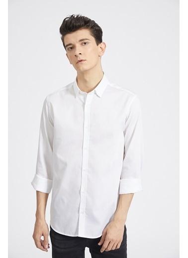 Avva Erkek  Armürlü Alttan Britli Gömlek A02Y2172 Beyaz